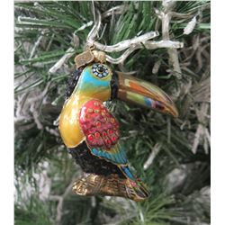"Jay Strongwater Christmas Tree Ornament Beaded Toucan Bird 9"" Height"