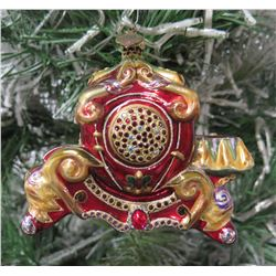 "Jay Strongwater Christmas Tree Ornament Beaded Red Coach 5"" Long"