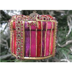 "Jay Strongwater Christmas Tree Ornament Beaded Gift Box 3"" Diameter"