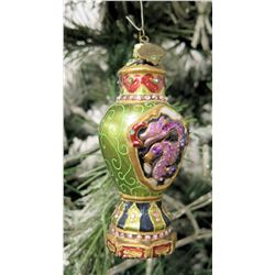 "Jay Strongwater Christmas Tree Ornament Beaded Serpent 5"" Height"