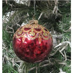 "Jay Strongwater Christmas Tree Ornament Beaded Red Ball 4"" Diameter"