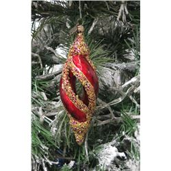 "Jay Strongwater Christmas Tree Ornament Beaded Red Swirl 6.5"" Long"