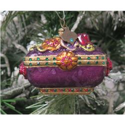"Jay Strongwater Christmas Tree Ornament Beaded Purple Box 3"" Long"