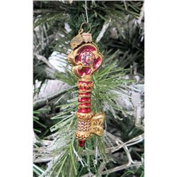 "Jay Strongwater Christmas Tree Ornament Beaded Red Key 3.5"" Long"