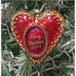 "Jay Strongwater Christmas Tree Ornament Beaded Red 2003 Heart 5"" Long"