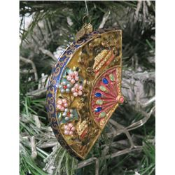 "Jay Strongwater Christmas Tree Ornament Beaded Fan 5.5"" Long"