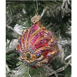 "Jay Strongwater Christmas Tree Ornament Beaded Clam Shell 3"" Diameter"