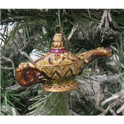 "Jay Strongwater Christmas Tree Ornament Beaded Genie Lamp 4.5"" Long"