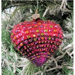 "Jay Strongwater Christmas Tree Ornament Beaded Red Heart 4"" Diameter"