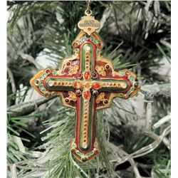 "Jay Strongwater Christmas Tree Ornament Beaded Cross 4"" Long"
