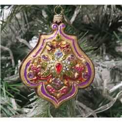 "Jay Strongwater Christmas Tree Ornament Beaded Design 3.5"" Diameter"
