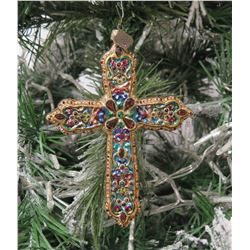 "Jay Strongwater Christmas Tree Ornament Beaded Cross 5.5"" Long"