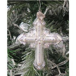 "Jay Strongwater Christmas Tree Ornament Beaded Cross 4.5"" Long"