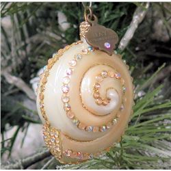 "Jay Strongwater Christmas Tree Ornament Beaded Nautilus Shell 2.5"" Long"