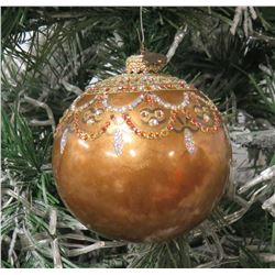 "Jay Strongwater Christmas Tree Ornament Beaded Brown Ball 3.5"" Diameter"