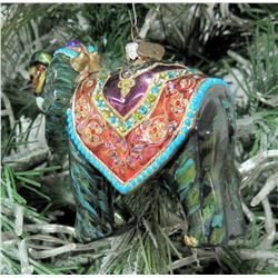 "Jay Strongwater Christmas Tree Ornament Beaded Elephant 6"" Long"