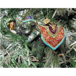 "Jay Strongwater Christmas Tree Ornament Beaded Elephant 6"" Long"