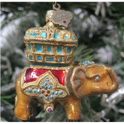 "Jay Strongwater Christmas Tree Ornament Beaded Elephant 3.5"" Long"