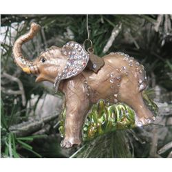 "Jay Strongwater Christmas Tree Ornament Beaded Elephant 4.5"" Long"