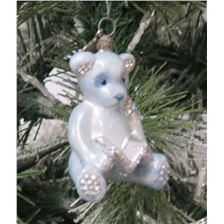 """Jay Strongwater Christmas Tree Ornament Beaded Seated Bear 2"""" Long"""