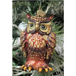 """Jay Strongwater Christmas Tree Ornament Beaded Owl 2.5"""" Long"""