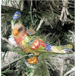 "Jay Strongwater Christmas Tree Ornament Beaded Bird 4"" Long"