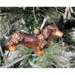 "Jay Strongwater Christmas Tree Ornament Beaded Dachshund Dog 3.5"" Long"