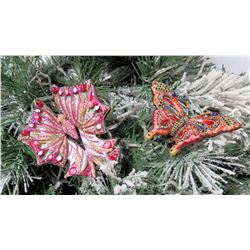 """Qty 2 Jay Strongwater Christmas Tree Ornament Butterflies Approx. 3.5"""" Long"""