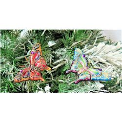 """Qty 2 Jay Strongwater Christmas Tree Ornament Butterflies Approx. 4"""" Long"""