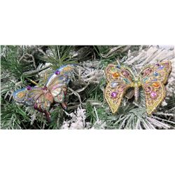 """Qty 2 Jay Strongwater Christmas Tree Ornament Butterflies Approx. 4.5"""" Long"""