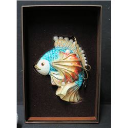 """Jay Strongwater Christmas Tree Ornament Beaded Fish in Box 5"""" Long"""