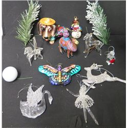 Qty Approx. 11 Christmas Tree Ornaments: Dog, Butterfly, Reindeer, Snowman