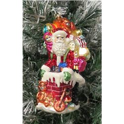 "Christmas Tree Ornament Santa w/ Toy Bag Marked 'L' 10"" Long"