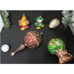 Qty 5 Christmas Tree Ornaments: Buddha, Frog, Pig, Tree, etc