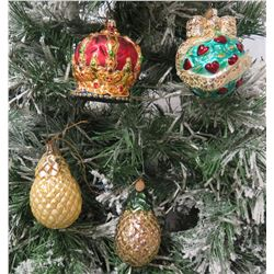 Qty 4 Christmas Tree Ornaments: 2 Pineapples, Crown, etc
