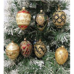 "Qty 7 Egg Shaped Bead & Glitter Christmas Tree Ornaments Approx. 4"" Long"