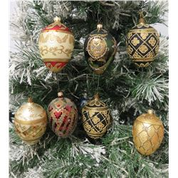 "Qty 7 Egg-Shaped Beaded & Glittered Christmas Tree Ornaments Approx. 4"" Long"