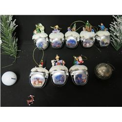Qty Approx. 10 Christmas Tree Ornaments: Santas, Reindeer, Sledders, etc