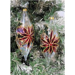 "Qty 2 Clear Cone Shape Christmas Tree Ornaments w/ Poinsettia 11"" Long"