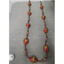 """Red Bead Christmas Tree Ornament on Strand 26"""" Long"""