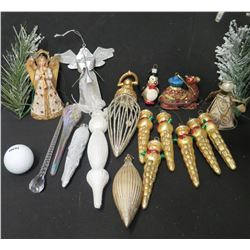 Qty Approx. 17 Christmas Tree Ornaments: Angels, Icicles, Snowman, Camel, etc