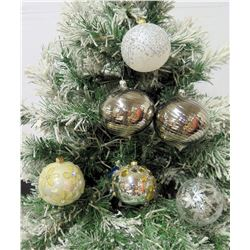"""Qty 6 Christmas Tree Ornaments: Solid, Beaded & Cut Out Balls 4"""" Diameter"""