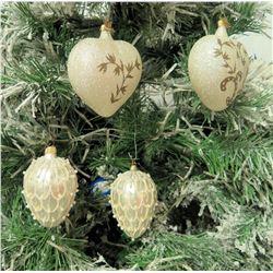 "Qty 5 Christmas Tree Ornaments: Egg Shaped 4"" Long, Hearts 3.5"" Diameter"