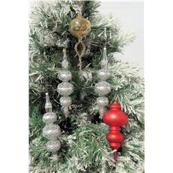 """Qty 5 Christmas Tree Ornaments: Clear Beaded, Red & White Spheres 11"""" Long"""