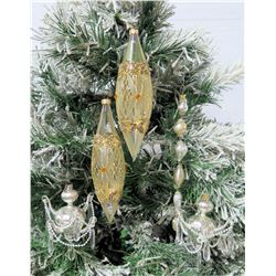 """Qty 5 Christmas Tree Ornaments: Pearl Accent 4"""" Spheres, Yellow Beaded 9"""""""