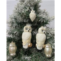 """Qty 5 Christmas Tree Ornaments: White & Pearlesque Owls 4""""-9"""" Long"""