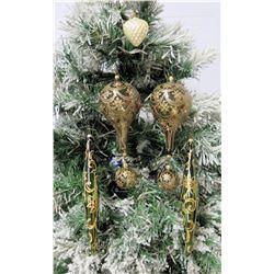 "Qty 6 Christmas Tree Ornaments: Burgundy & Gold 2"" Balls & 9"" Cones"