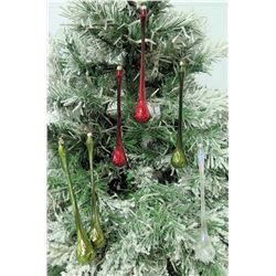 "Qty 6 Christmas Tree Ornaments: Red, Green & White Icicles 11"" Long"
