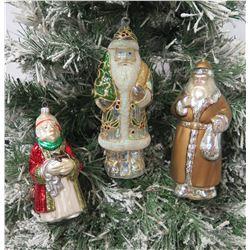 "Qty 3 Christmas Tree Ornaments: Handblown 10"" Santa & Wise Men"