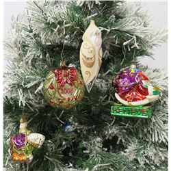 Qty 4 Christmas Tree Ornaments: Ball w/ 2001 Bow, Santas, Believe Sleigh, etc